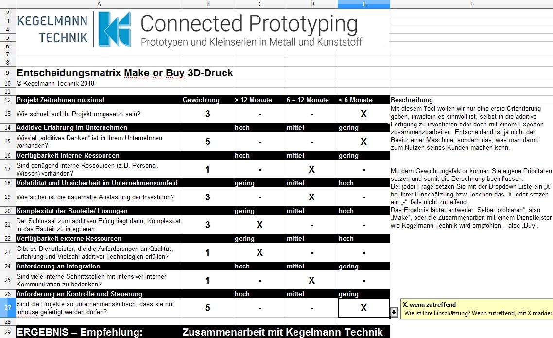 Entscheidungsmatrix Make or Buy 3D-Druck